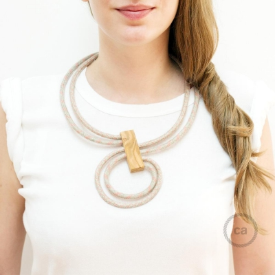 Infinity necklace adjustable bicolor Lozange Ancient Pink RD61 and Stripes Ancient Pink RD51.
