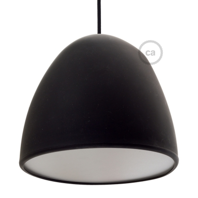 Silicone Lampshade color black supplied with diffuser and strain relief. Diameter cm 25.