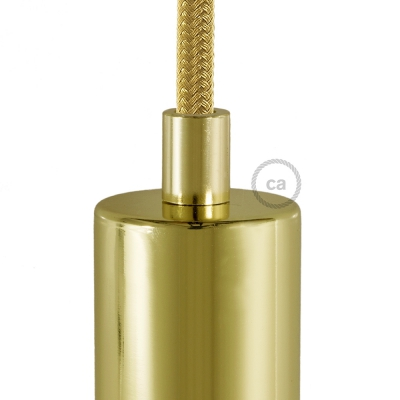 Brass finish metal round strain relief clamp provided with threaded tube, nut and washer.
