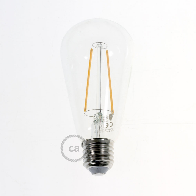 led transparent light bulb edison st64 long filament 4w. Black Bedroom Furniture Sets. Home Design Ideas
