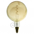 XXL LED Golden Light Bulb - Sphere G200 Curved Double Spiral Filament - 5W E27 Dimmable 2000k