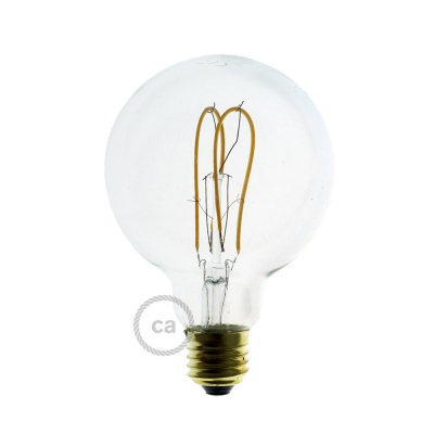 LED Transparent Light Bulb - Globe G95 Curved Double Loop Filament - 5W E27 Dimmable 2200K