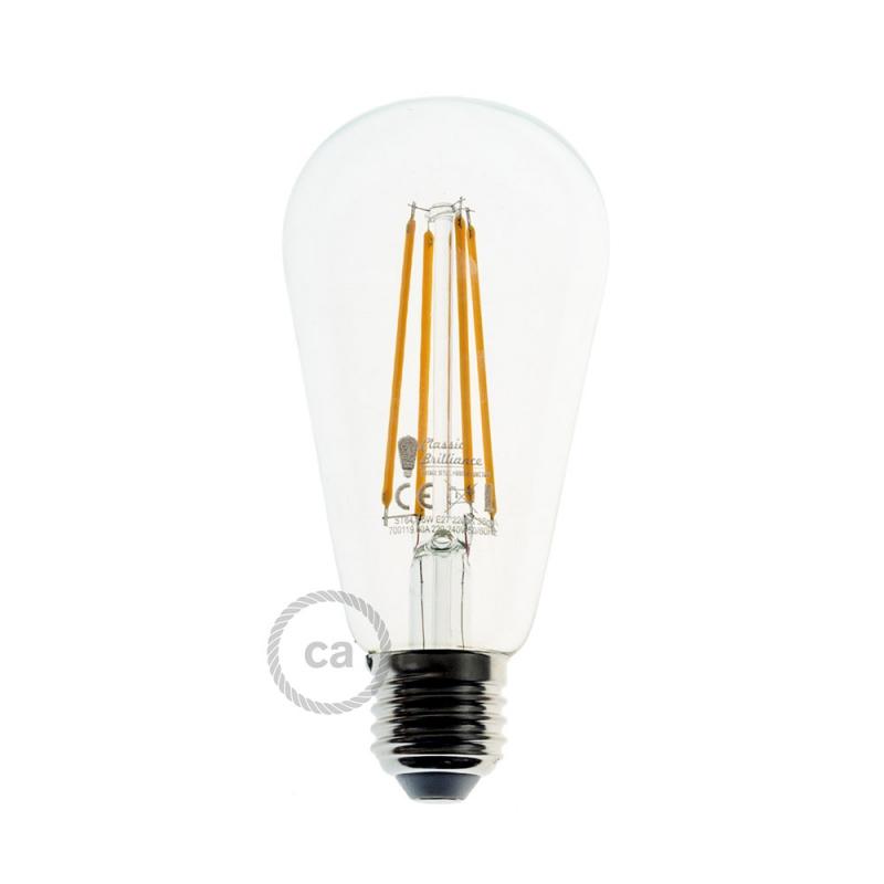 led transparent light bulb edison st64 long filament 7 5w e27 decorative vintage dimmable 2200k. Black Bedroom Furniture Sets. Home Design Ideas