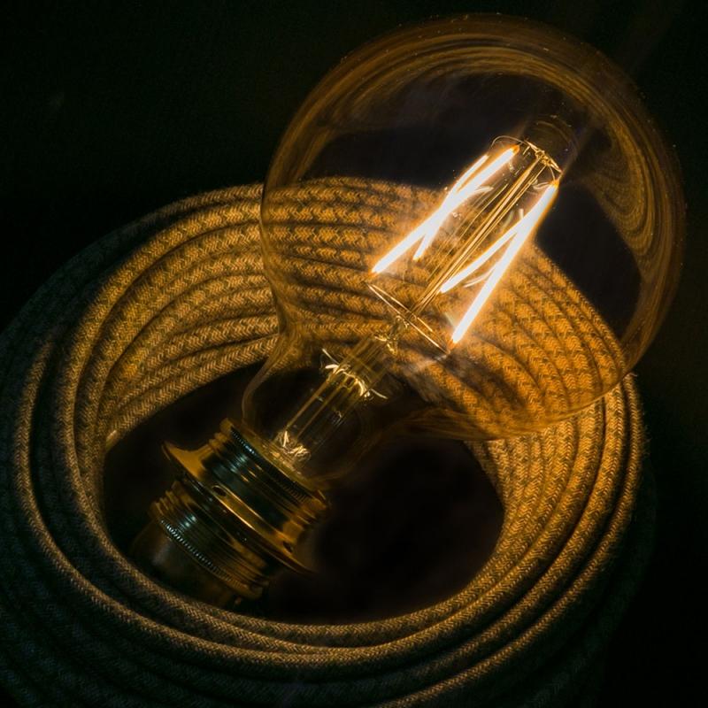 LED Golden Light Bulb - Globe G125 Long Filament - 4W E27 Decorative Vintage 2000K