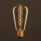 Vintage Golden Light Bulb Edison ST64 Carbon Filament Double Spiral Curve 30W E27 Dimmable 2000K