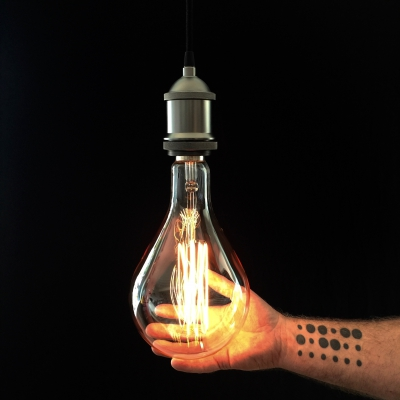 XXXL G250 Filament Transparent Light Bulb -Droplet- 40W E40 Dimmable