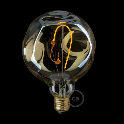 LED Golden Light Bulb - Globe G125 Single Filament with irregular glass - 2.5W E27 Decorative Vintage 2000K