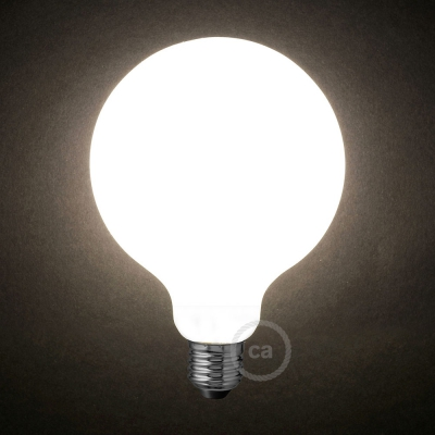 LED Milky White Light Bulb - Globe G125 - 8W E27 Dimmable 2700K