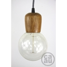 Light Wood Pendant with Grey Linen