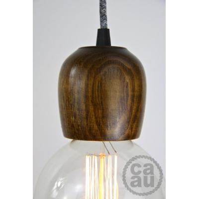 Dark Wood Pendant with Grey Linen