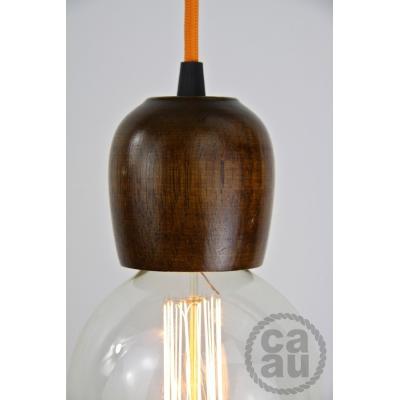 Dark Wood Pendant with Orange
