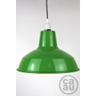 Metal Shade Pendant Green with Grey Linen