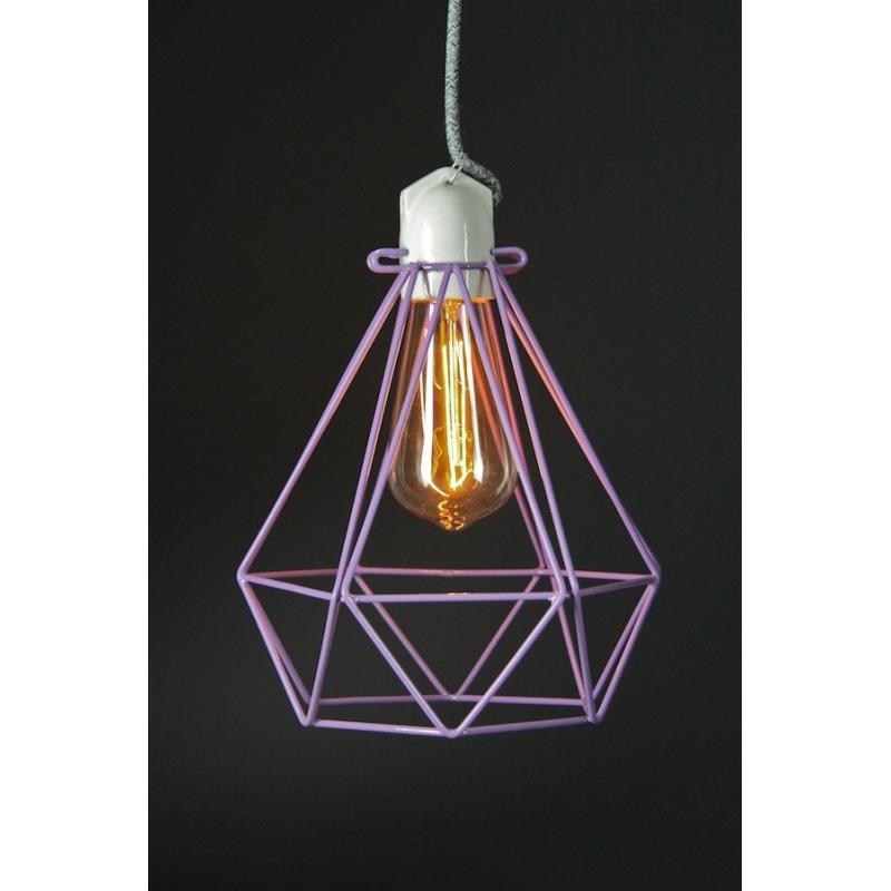 Diamond Cage Pendant Purple