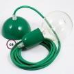 Hanging Lamp, pendel fabric cable Green RM06 2mt. Green Metal Rose and Lampholder.