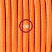Hanging Lamp, pendel fabric cable Orange RM15 2mt. Orange Metal Rose and Lampholder.