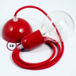 Hanging Lamp, pendel fabric cable Red RM09 2mt. Red Metal Rose and Lampholder.