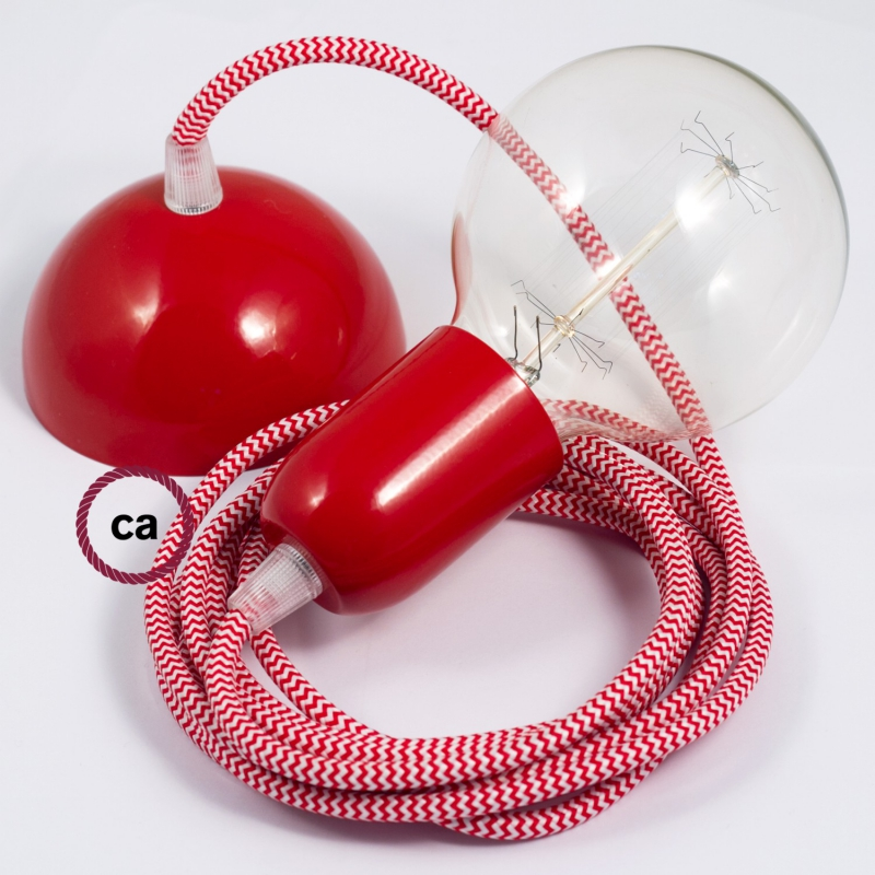 Hanging Lamp, pendel fabric cable ZigZag Red RZ09 2mt. Red Metal Rose and Lampholder.