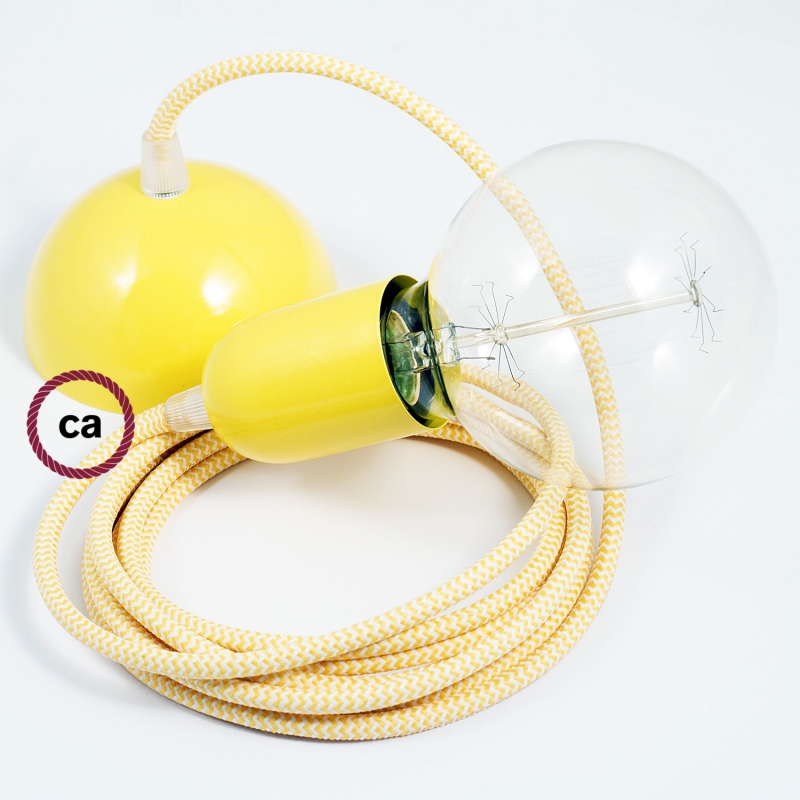 Hanging Lamp, pendel fabric cable ZigZag Yellow RZ10 2mt. Yellow Metal Rose and Lampholder.
