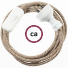 Wiring Brown Glittering Natural Linen textile cable RS82 - 1.80 mt