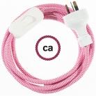Wiring ZigZag Fuchsia textile cable RZ08 - 1.80 mt