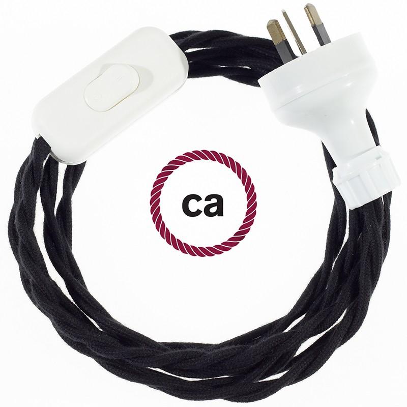 Wiring Black Cotton textile cable TC04 - 1.80 mt