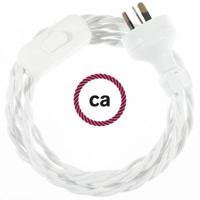 Wiring White Cotton textile cable TC01 - 1.80 mt
