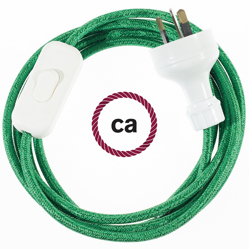 Wiring Glittering Green textile cable RL06 - 1.80 mt