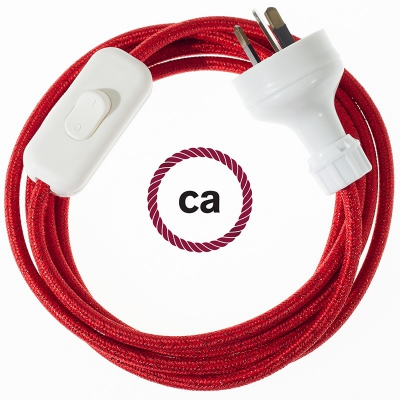 Wiring Glittering Red textile cable RL09 - 1.80 mt