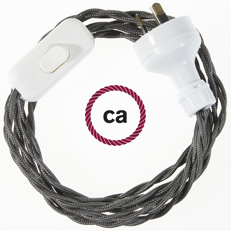 Wiring Dark Gray Rayon textile cable TM26 - 1.80 mt