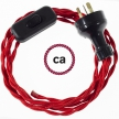 Wiring Red Rayon textile cable TM09 - 1.80 mt