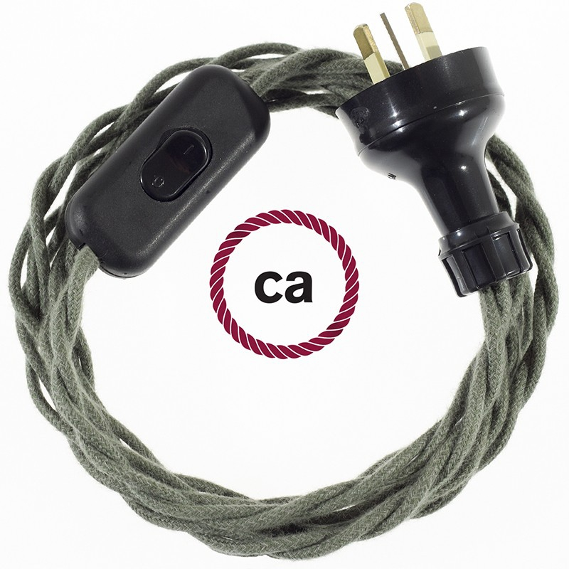 Wiring Grey Green Cotton textile cable TC63 - 1.80 mt