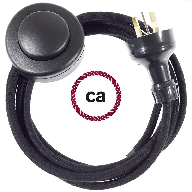 Wiring Pedestal Black Cotton textile cable RC04 - 3 mt