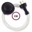Wiring Pedestal White Cotton textile cable RC01 - 3 mt