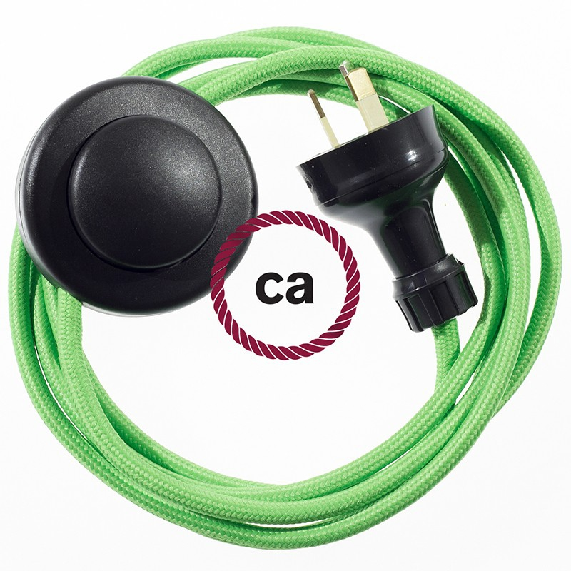 Wiring Pedestal Green Lime Rayon textile cable RM18 - 3 mt