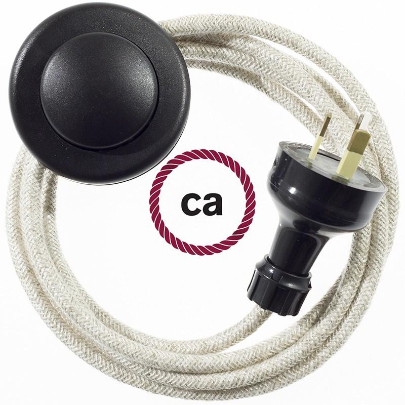 Wiring Pedestal Neutral Natural Linen textile cable RN01 - 3 mt
