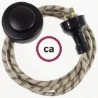 Wiring Pedestal Stripes Bark textile cable RD53 - 3 mt