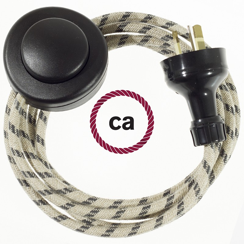 Wiring Pedestal Stripes Anthracite textile cable RD54 - 3 mt