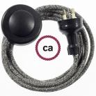 Wiring Pedestal Black Glittering Natural Linen textile cable RS81 - 3 mt