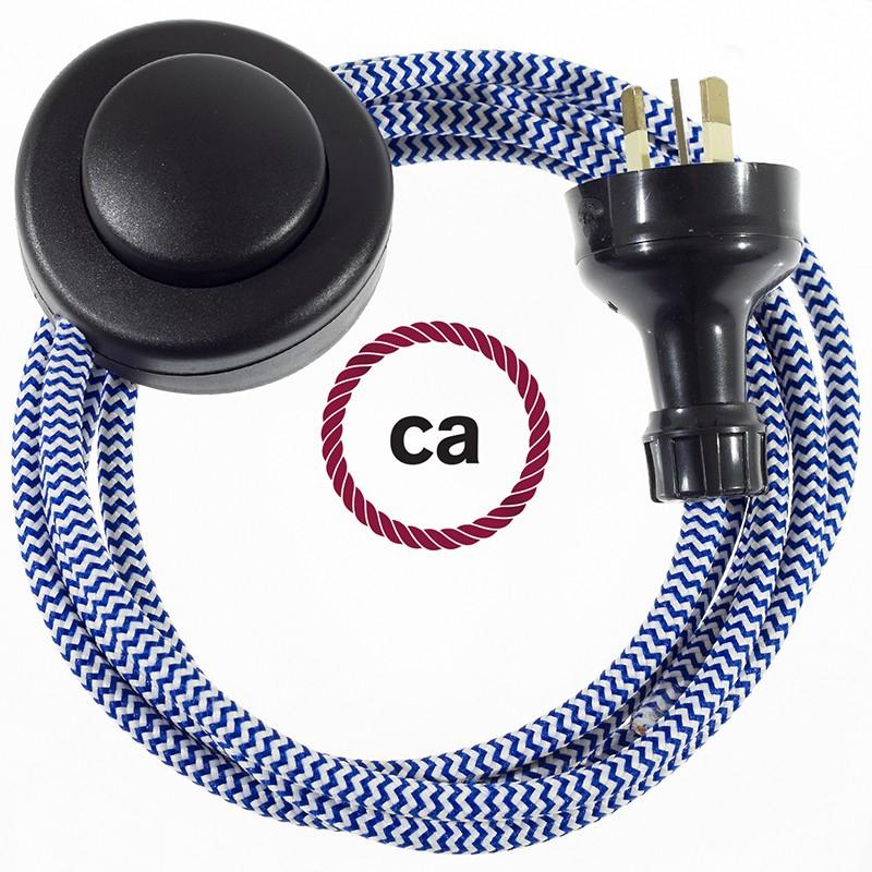 Wiring Pedestal ZigZag Blue textile cable RZ12 - 3 mt
