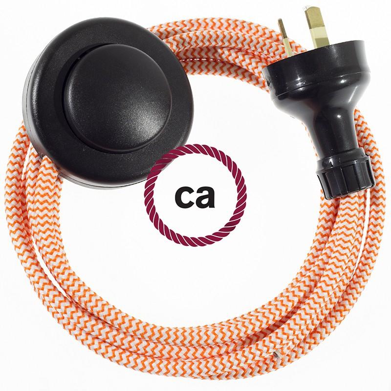 Wiring Pedestal ZigZag Orange textile cable RZ15 - 3 mt