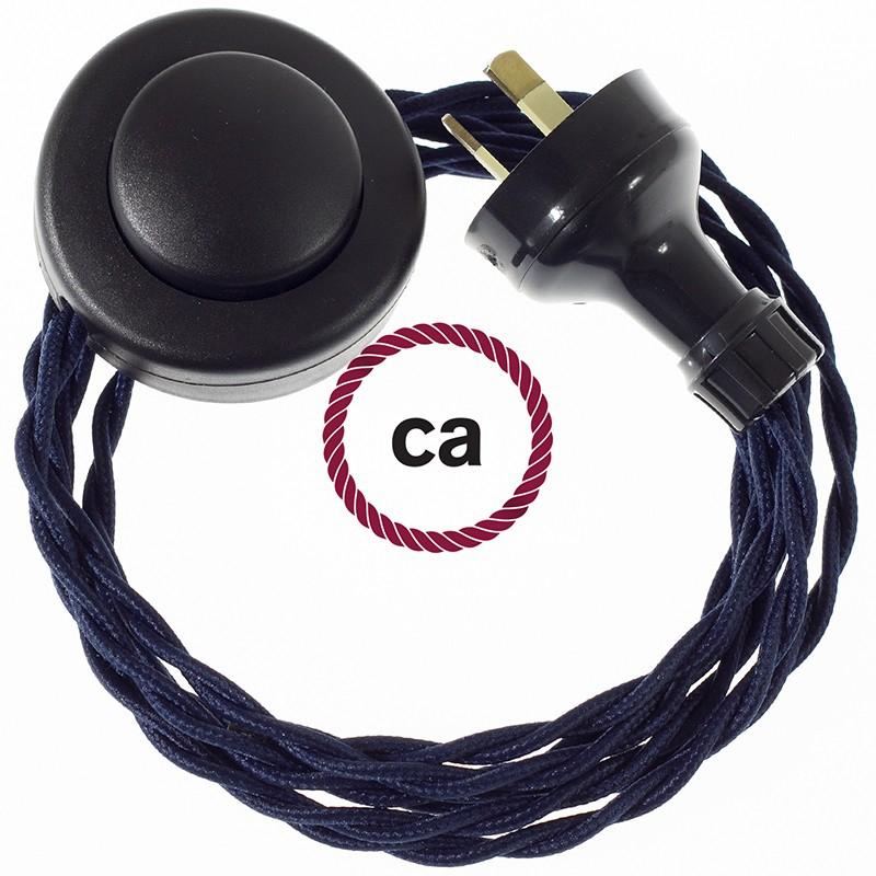 Wiring Pedestal Dark Blue Rayon textile cable TM20 - 3 mt