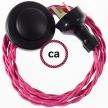 Wiring Pedestal Fuchsia Rayon textile cable TM08 - 3 mt