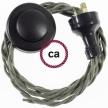 Wiring Pedestal Grey Green Cotton textile cable TC63 - 3 mt