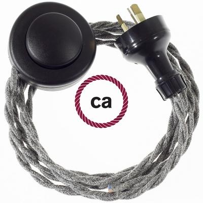 Wiring Pedestal Grey Natural Linen textile cable TN02 - 3 mt
