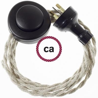 Wiring Pedestal Neutral Natural Linen textile cable TN01 - 3 mt