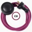 Wiring Pedestal Burgundy Cotton textile cable RC32 - 3 mt