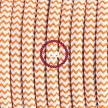 Single Pendant, suspended lamp with ZigZag Orange textile cable RZ15