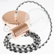 Single Pendant, suspended lamp with Bicolored Black textile cable RP04