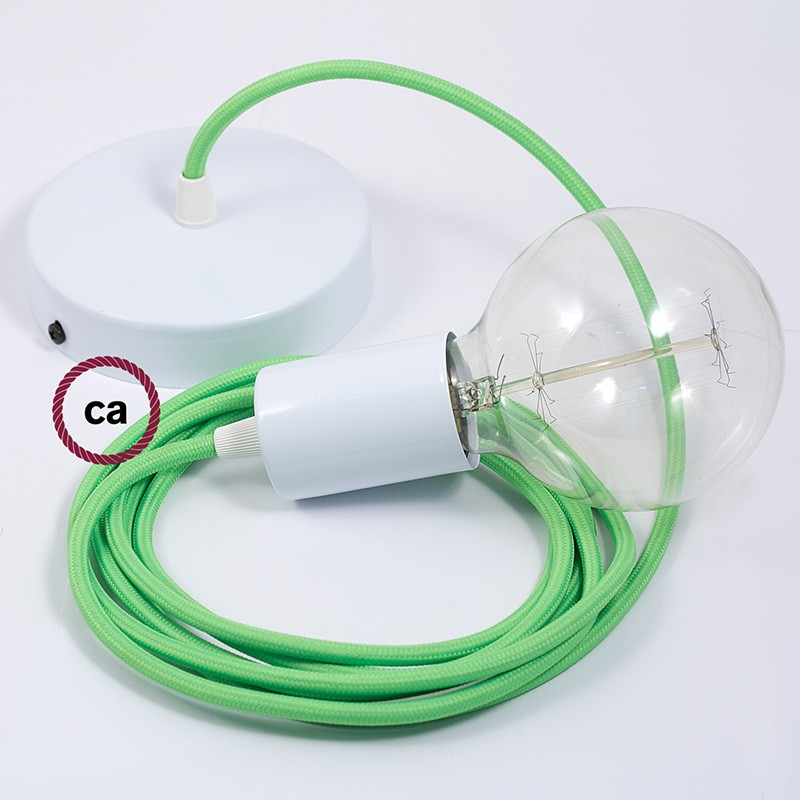 Single Pendant, suspended lamp with Green Fluo textile cable RF06