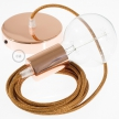 Single Pendant, suspended lamp with Glittering Copper textile cable RL22